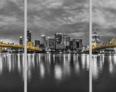 Selective color Panorama of Pittsburgh from the North Shore before sunrise - Pittsburgh Triptych - Various formats