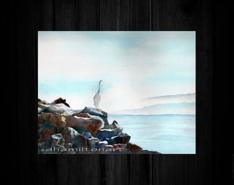Elegant Egret Watercolor Egret Watercolor Painting Watercolor California Salton Sea Egret,