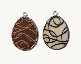 """Handmade Stained Glass """"Chocolate"""" (Swirls) Easter Eggs (Set of 2)"""