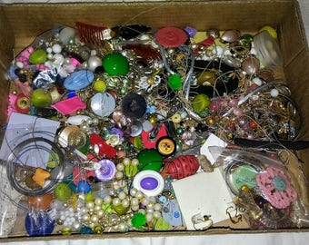 2+ lbs Bead Soup- destash junk jewlery, repurpose, repair, recycle, collage and asseblage art gaudy chunky junk shabby chic retro