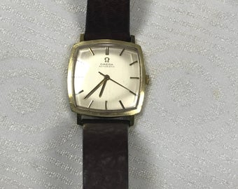 Omega Automatic Classic Square Shape Gold Filled Metal Watch