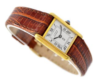 Vintage Must De Cartier Tank 925 Gold Plated Manual Wind Ladies Watch 1392 -  Make me an offer!