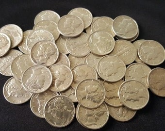 UNCIRCULATED 90% Silver Mercury Dimes // Old U.S. Coins // 1916-1945 // 1 COIN