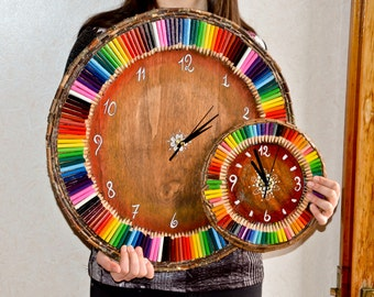 Great Wall orogogio wood with Rainbow colors, handmade, diameter 50 cm