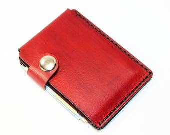 Red leather wallet, credit card wallet, mini wallet, handmade wallet, leather wallet, business card holder
