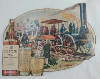 Vintage seagram's Canadian whiskey cardboard advertising sign steam engine train wagons railroad