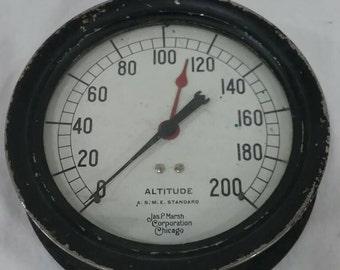 Vintage jas p marsh Chicago steam pressure altitude gauge steampunk lamp industrial art