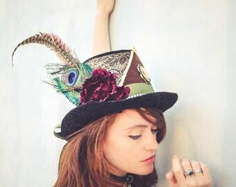 Alice in wonderland top hat, Venetian 1920 hat, Steampunk Top Hat, feather festival top hat, Burning man topper hat magician top hat