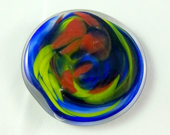 Handmade Art Glass Red Yellow and Blue Rondel for Crafters