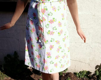 The Vested Gentress Vintage Dress with Pink Flowers and Green Puppies