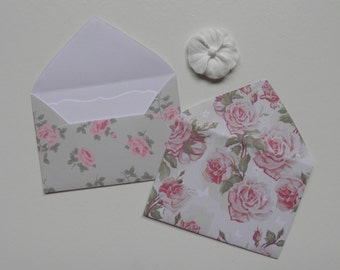Floral mini envelopes, Inserts optional, Paper ephemera, Paper embellishments, Journaling, 10 different prints, Free shipping world wide,#14