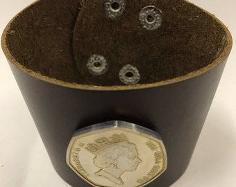 British 50 pence Leather Cuff Coin Bracelet queen