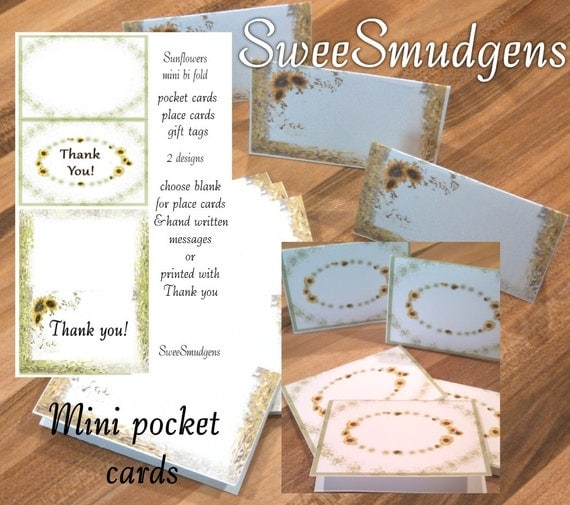Spring sunflowers mini thank you cards bi fold place cards mini gift tags pocket card spring or summer stationary party supply floral supply