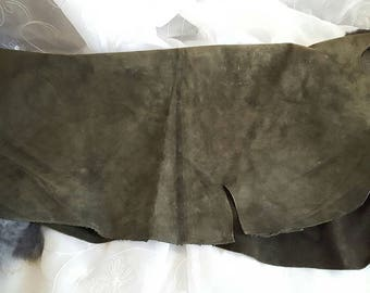Deep Moss green leather. For holsters, belts, saddle ties, shoes. Cowhide. Suede finnish