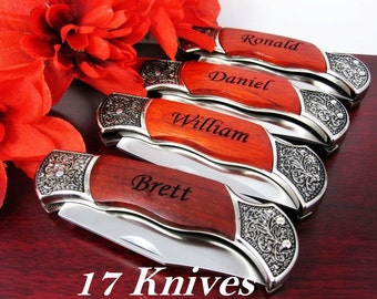 Set of 17 Personalized Groomsmen Gifts // Custom Knife for Men // Great Wedding Gifts for Best Man, Usher, Officiant, Father / FAST SHIPPING