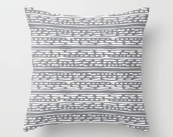 Lines and Dots pillow with insert  - Modern pillow with insert  - Grey pillow with insert  - Modern Home Decor - By Aldari Home