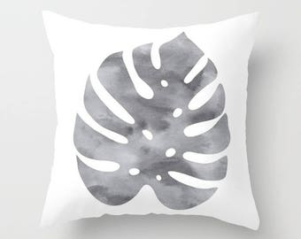 Monstera Leaf Pillow  - Modern Leaf Pillow  - Philodendron Leaf Pillow  - Modern Home Decor - By Aldari Home