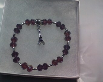 Eiffel Tower Charm with purple beads