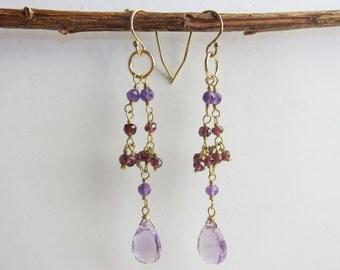Garnet and Amethyst Delicate Waterfall Handmade Earrings