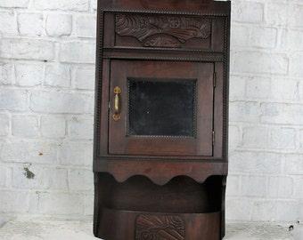 Vintage Gorgeous Kitchen Medicine Bathroom Cabinet Apothecary Mirror Plied Wood