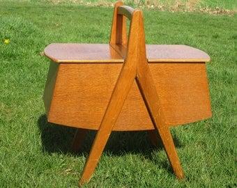 RESERVED CHENI Danish Mid Century Modern Teak Sewing Box Era Eames Lovely