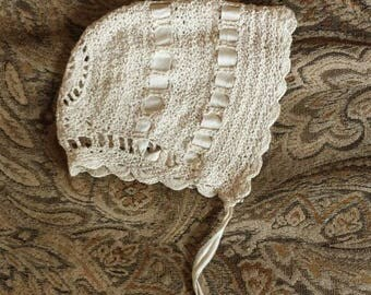 Vintage Antique Hand Crochet Baby Bonnet