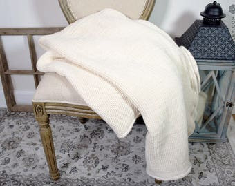 Linen ivory white blanket- waffle textured off white linen bed throw- softened linen blanket-waffle textured linen throw