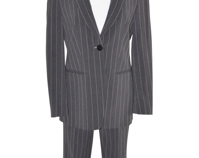 Vintage Estate Giorgio Armani A Milano Borgonuovo 21 Charcoal Grey Pinstripe Wool Pant Suit Made in Italy