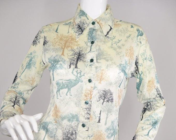 Mr Dino Vintage Estate Moose Forest Novelty Print Button Up Shirt 1970s