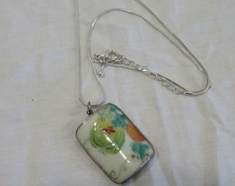 Necklace and Pendant, Hand Painted Domed Tile, Porcelain, Set in Sterling Silver, Signed by Artist