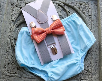 1st Birthday boy cake smash bow tie suspenders outfit 12 mo Orange, gray, light blue, boy outfit, bloomers, diaper cover