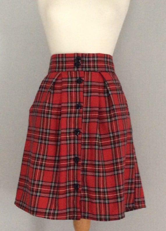 tartan plaid button high waisted a line skirt