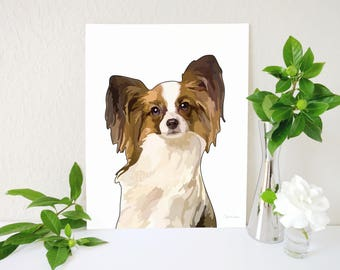 Papillon Art Print, Papillon Dog, Papillon Dog Art Print, Papillon Painting, Dog Wall Art, Dog Breed Art, Dog Painting, Dog Nursery Decor