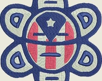 Puerto Rico Boricua Taino Flag Island Sun Filled Embroidery Design INSTANT DIGITAL DOWNLOAD 4x4 5x7