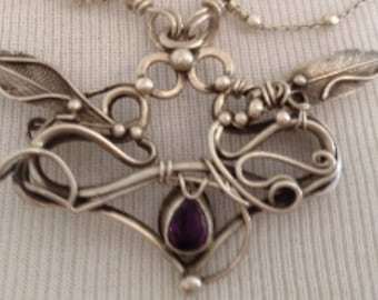 """beautiful handmade Sterling silver and faceted amethyst winged """"Flying Heart"""" pendant  necklace"""