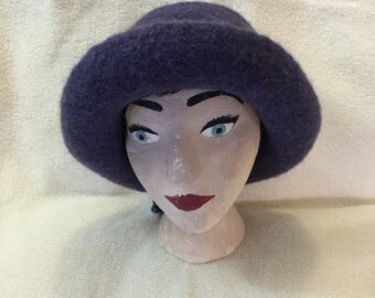 Purple heather !00% wool felted hat with cord.