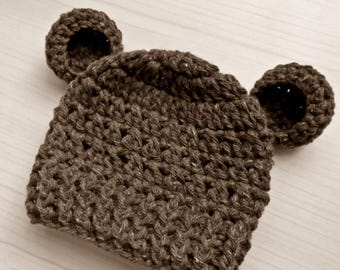 Baby bear hat Brown bear hat Baby animal hat Bear ears hat Crochet baby hat Bear beanie Newborn boy hat Wool baby hat Newborn boy outfit