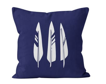 45 colors Indigo Boho Feathers Pillow Cover, blue minimalist bohemian decor, 18x18 22x22 canvas pillow cover