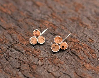 "Silver and Cork Earrings ""Twirl II"" - Handmade Cork Jewelry - FREE SHIPPING"