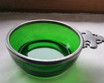 French Glass Bowl, Glass and Pewter Bowl, Green Glass Bowl