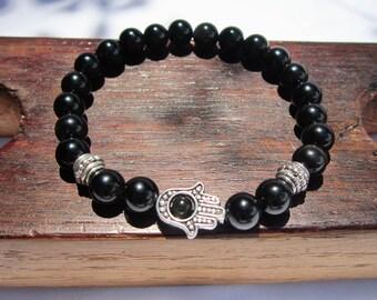 Hamsa Hand Black Obsidian Bracelet Black Obsidian Fatima Hand Bracelet Hamsa Hand Obsiadian Bracelet Hamsa Hand Obsidian Protection
