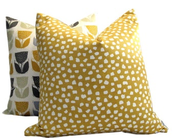 Abstract Mustard Dots Print Pillow Cover