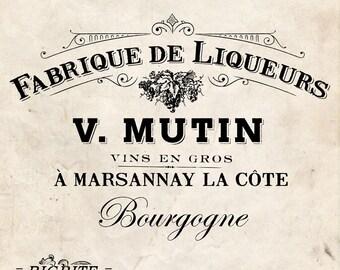 Water Slide Decal PRINT TRANSFER of Vintage French Advert Label graphic:  Fabrique de Liqueurs #005