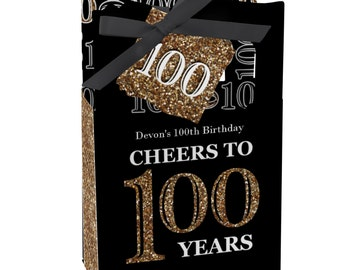 100th Birthday Party Favors for Birthday Parties - Favor Boxes - Adult 100th Birthday - Gold Party Supplies - Set of 12