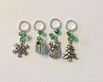 Small Christmas Holiday Knitting Stitch Markers - Set of 4