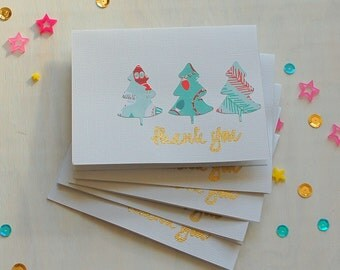 Holiday Note Cards  - 5 Christmas Thank You Notes, Thank You Card Set, Holiday Thank You Cards, Christmas Thank You Cards, Custom Thank You