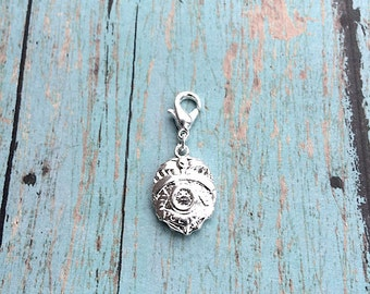 Police badge charm etsy police badge charm 3d rhodium plated 1 piece silver police badge pendant mozeypictures Choice Image