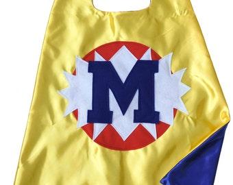 FREE SUPERHERO MASK - Pow Cape - Yellow Blue Red Super Hero - Pretend Play Superhero - 2 year old gift - Custom Initial Cape -  Child Cape