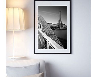 Fine ART Print of Paris  -  Eiffel Tower and Debilly Passerelle Photo in Black and White Poster Cityscape Picture France
