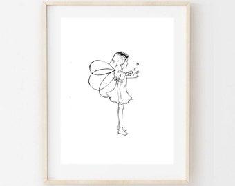 Lucy and her bird - Children's art. fairy child. A4 Print